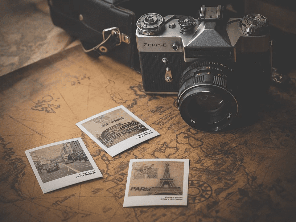 travel bloggers equipment - a camera and map