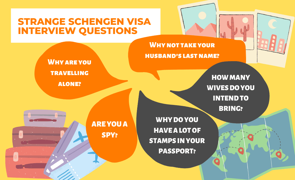 Strange Schengen Visa Interview Questions and Answers infographic