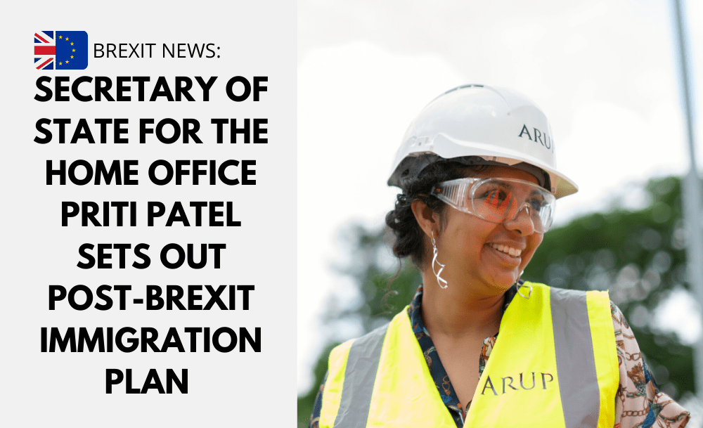 Secretary of State for the Home Office, Priti Patel sets out post-Brexit immigration plan – including a new health and care visa